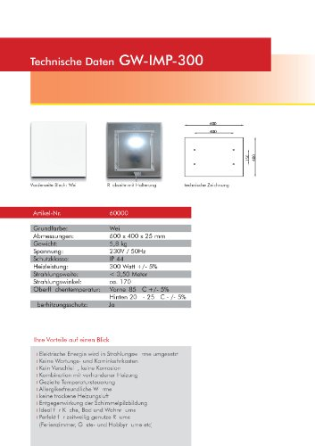 Infrarotheizung Glaswärmt//verschiedene Größen Metall&Basic 300,400,450,550,700,900 &1100 Watt Elektroheizung-Austellungsstücke (Weiß IMP 300 Watt 600x400)