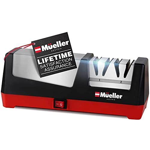 Mueller Professional Electric Knife Sharpener for Straight Knives Diamond Abrasives, Quickly...