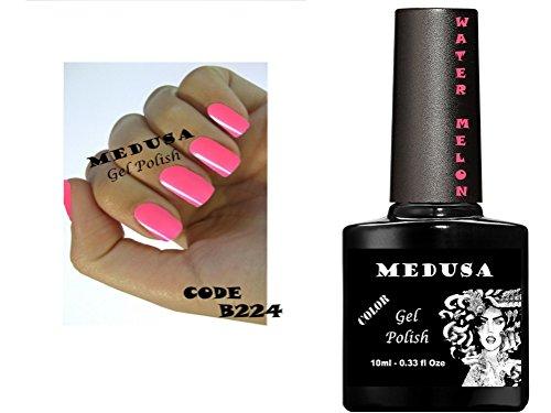 Vernis à ongles gel Medusa B224 Rouge Rose Pastèque Soak Off UV/LED 10 ml. Coffret cadeau avec 6 bouteilles 20 vernis à ongles Strass Bleu Ciel Couleur