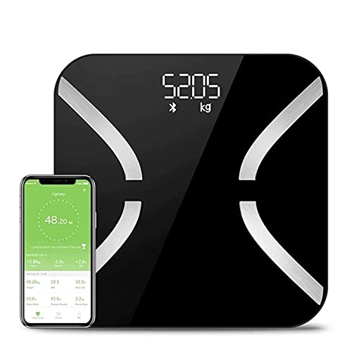 Feixunfan Bascula Grasa Corporal Baño De Escala De Peso Digital Bluetooth Cuerpo De Grasa Grasa Escala De Piso Electrónicos para la Oficina en Casa (Color : Black, Size : 26x26cm)