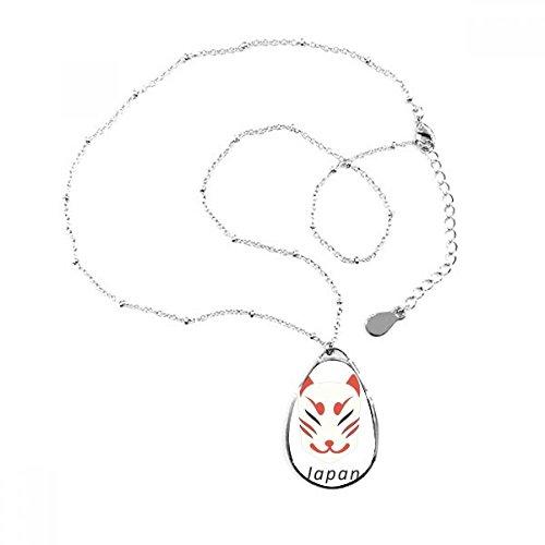 DIYthinker Tradicional japonés Local Fox máscara Forma de lagrima Colgante Collar Joyas con Cadena decoración Regalo