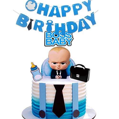 TOXYU Boss Baby Happy Birthday Banner, Baby Boss Cake Topper, Baby Shower Supplies, Boss Baby Theme Party Supplies Decorations