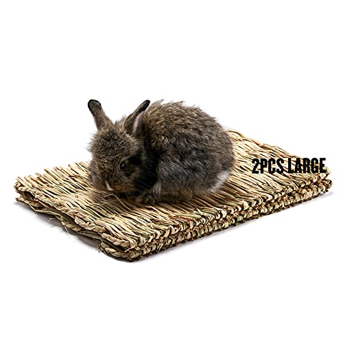 Ecosmy Grass Mat for Rabbit Natural Straw Woven Bed Mat& Bunny Bedding Nest Chew Play Toys for Small...