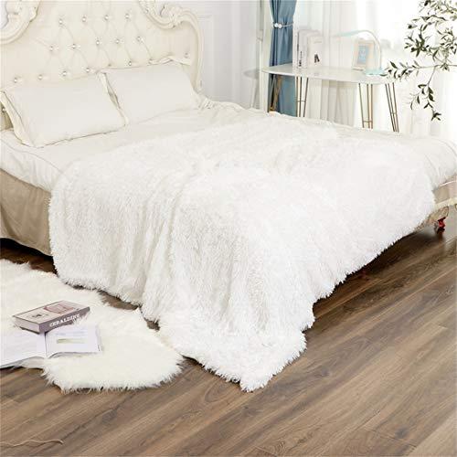 N /A Kuscheldecke Lange Decke 200 * 2300cm Kunstfell Decke & Tagesdecke Geeignet für Bett oder Sofa(Weiß)