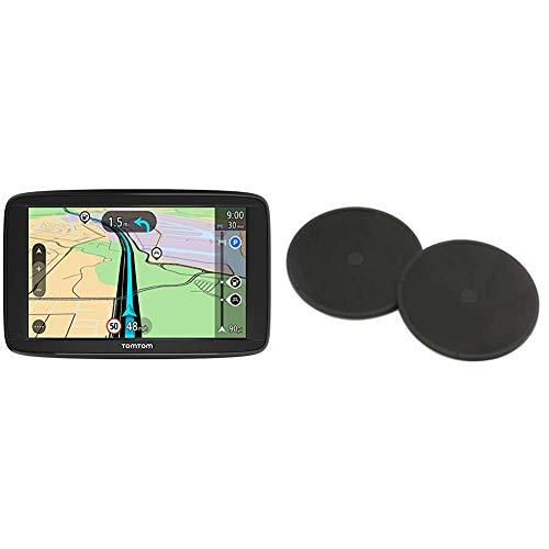 TomTom Start 62 (6 Pouces) - GPS Auto - Cartographie Europe 48 Cartographie à Vie + Disques de Fixation Adhésifs pour Tableau de Bord, Adaptés à Tous Les GPS TomTom