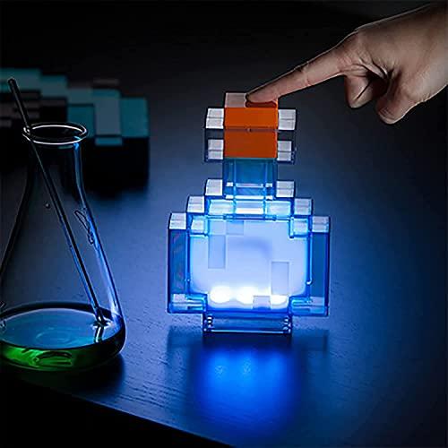 YSCC 8 Colores Luz de Poción Mágica para Minecraft, Lámpara Led Que Cambia de Color, Modelo de Luz Nocturna, Juguete de Luz Nocturna con Control Remoto, Lámparas de Iluminación para Niños