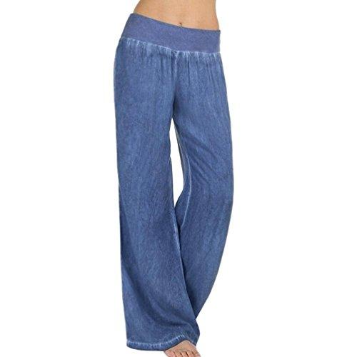 PAOLIAN Pantalones Anchos para Mujer Verano 2018 Casual Palazzo Pantalones de Bombachos Baggy Yoga Fiesta Algodón Cintura Alta Pretina Elástica Pantalones Acampanados Denim Suelto señora (XXL, Azul)