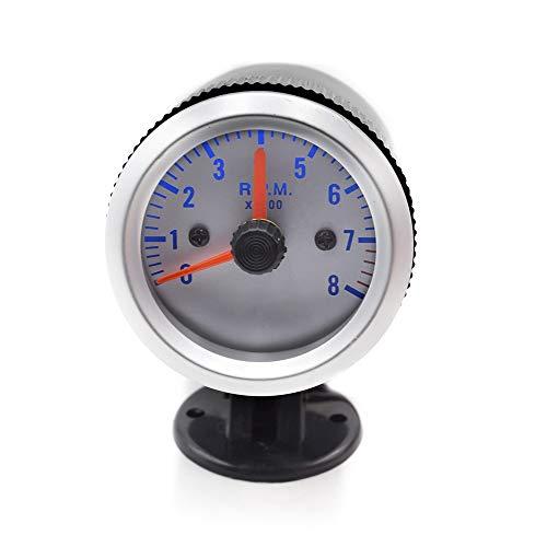 GUANGHEYUAN-J Inoxidable Digital Tacómetro de 52 mm RPM Medidor del medidor del Coche con Soporte for vainas 0~8000 RPM Meter Blanco para el Bote de Camiones de Coche