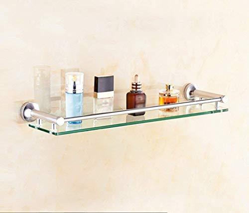 Glazen plank met aluminium rail en handdoekstang (1 gehard glas, 8 mm dik), wandhouder voor badkamer (afmetingen: 60 x 12 x 4 cm)