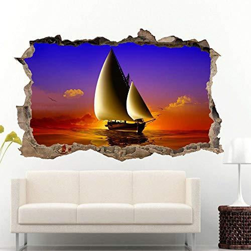 Vintage barco de vela mar pegatinas de pared 3d arte mural calcomanía decoración de la oficina en casa Póster Arte 3D Mural 50x70cm