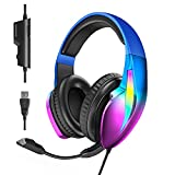 Nesan Fire Gaming Headset with Microphone, Glowing Aurora RGB, Gaming Headset PC PS4 PS5 Xbox One Xbox Series X & S Laptop Mac Nintendo, 7.1 Surround Sound, Soft Memory Ear Muffs, Noice Cancellation