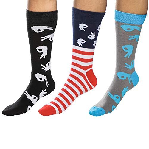 Circle Game Socken, kreisförmig, für Herren, lustige Socken für das Handkreisspiel, verrückte Socken, Beste Grafik Meme Socken, Casual Funny Dress Socks für Arbeit und Büro – 3 Paar