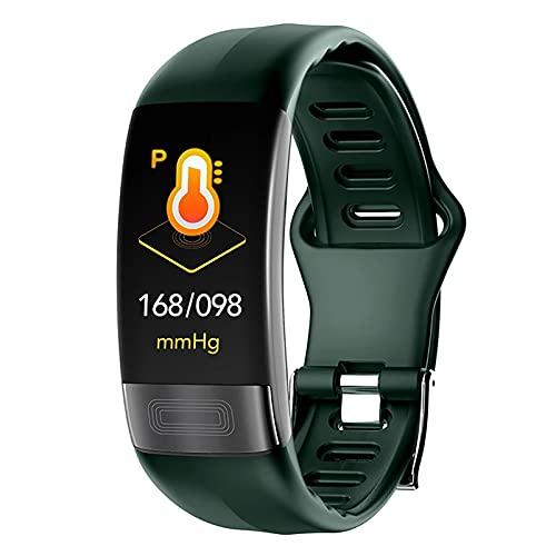 ZGZYL Reloj Inteligente P11 De Los Hombres con La Frecuencia Cardíaca ECG + PPG Y El Seguimiento De La Presión Arterial Pulsera Inteligente Reloj Deportivo Deportes Pulsera Podómetro,A
