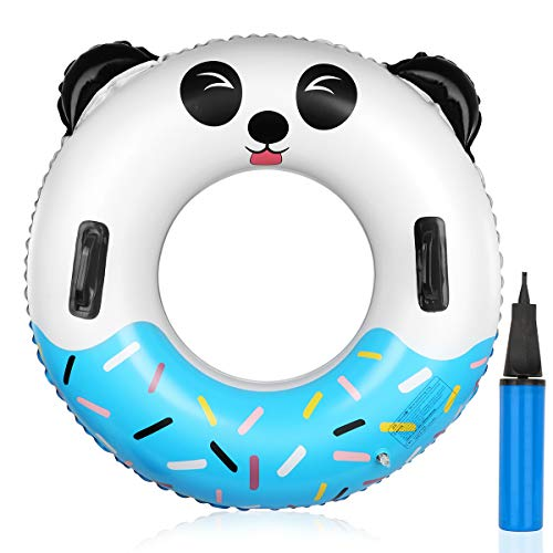 Pool Float 34.2'' Pool Ring for Adults & Kids 0.3mm Extra Thick Health Materials Swim Ring Panda Pool Inner Tube with Handle& Inflatable Tube for Water Party Beach Time