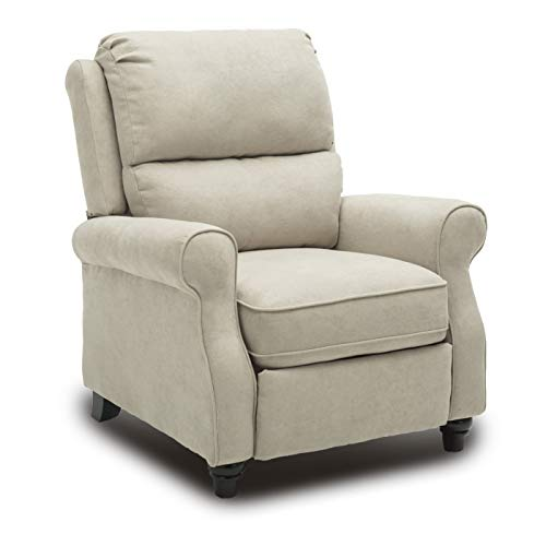 BONZY Pushback Recliner Roll Arm and Easy to Push Mechanism Recliner Chair, Buff