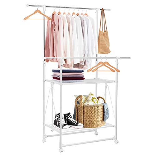 Tangkula Clothes Garment Rack Adjustable Rolling Heavy Duty Double Rail Folding Tower Shoes Clothing Storage Organizer with Wheels and Shelves 585 x 20 x 71