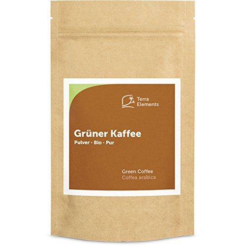 Terra Elements Bio Grüner Kaffee Pulver, 200 g I Coffea arabica I Aus ungerösteten Kaffeebohnen I 100% rein I Vegan I Rohkost