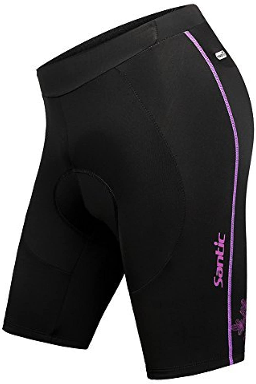 Santic Women's 4D Padded Cycling Shorts Elastic Comfortable MTB Shorts Black