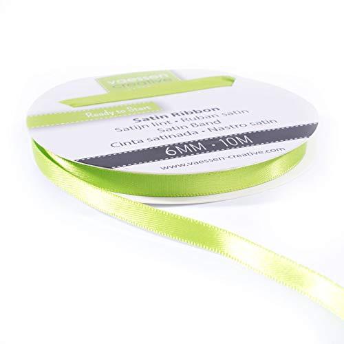 Vaessen Creative Satin Ribbon, Apple Green, 6mm x 10m, Elegant Shine for...