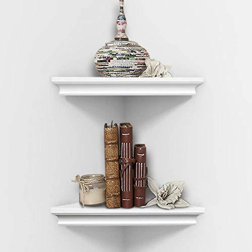 AHDECOR Weiß Eckregal Hängeregal Wandregal Bücherregal Wandlagerregal 2 Ebenen Wandmontage Dekor für Schlafzimmer, Wohnzimmer, Bad, Küche, Büro und Mehr