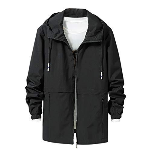 Bomber Jacket Men's Fashion Casual Cap Fashion Large Comfortable Jacket Coat Rain Jacket Black