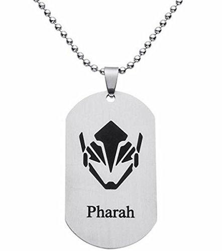 Fashion Jewery Collar con colgante de acero inoxidable, diseño con escudo en plata, modelo Overwatch Pharah