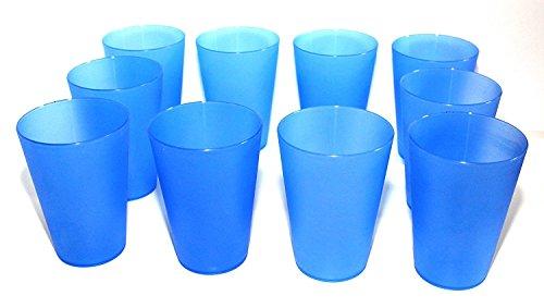 DS-Computerwelt 30 Plastik Trinkbecher max 0,4 l PVC-Becher Partybecher Polypropylen Ø 56-86 mm h=115 mm PP Mehrwegtrinkbecher stapelbar, spülmaschinenfest, bruchsicher, Farbe: blau