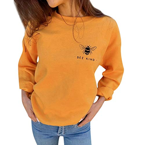 WYZTLNMA Autumn Sweatshirts Bee Print Casual Loose Long Sleeve Hoodie Sweatshirt Tops Womens Sweatshirt Pullovers Streetshirt Yellow