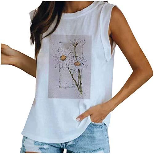 VEMOW Camisola Chaleco sin Mangas para Mujer con Cuello en V, Moda Básico Blanco Camiseta de Tirantes con Impresión de Libélula Suelto Informal Camisetas de Playa de Verano(Gris,S)