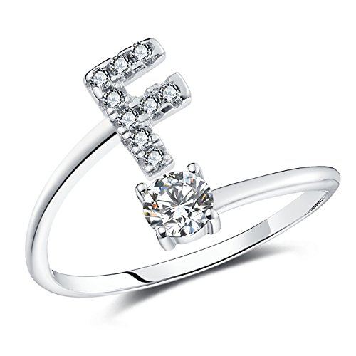 FAURORA Rings for Women Initial Ring Letter Ring A-Z Adjustable Silver Rings Women Rings Size 6-11 Gift Set F