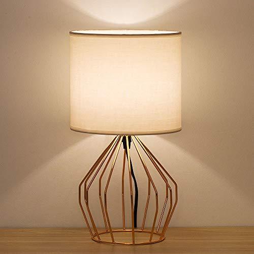 Einfache Nachttischlampe mit Roségold ausgehöhltem Sockel und Leinen Lampenschirm, Tischlampe für Schlafzimmer, Wohnzimmer, Mädchenzimmer