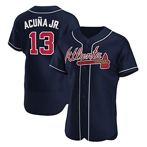 Hhwei MLB Atlanta Braves 13# Ronald Acuna Jr. Baseball Trikot, Personalisierter Name und Nummer,Schwarz,XXXL