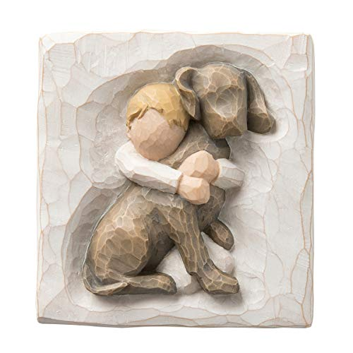 Willow Tree Hug Plaque, Sculpted Hand-Painted bas Relief