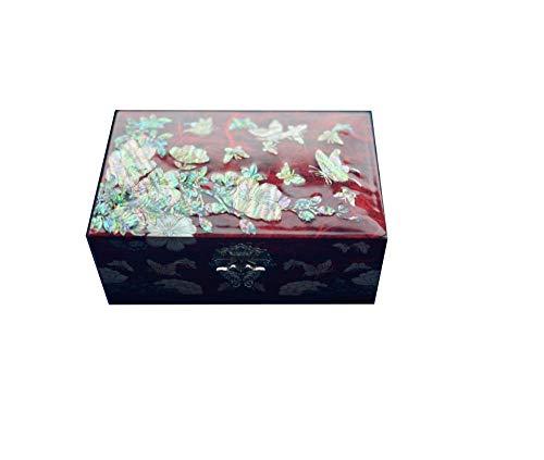ALIANG Cajas de joyería, artículos de Laca de Caracol, Caja de joyería de Regalo de Boda, Caja de joyería de Madera, Pendientes Europeos, Collar, Caja de Almacenamiento de Joyas