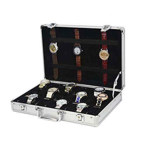 Luxe 24 Grids Horloge Doos, Travel Horloge koffer Aluminium met Handlle Box Horloges Sieraden Opslag Display Box