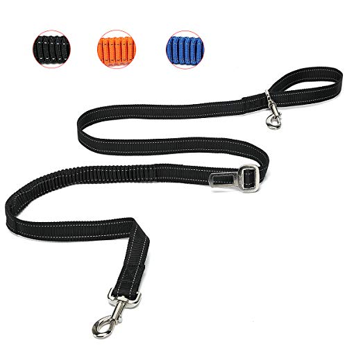 TUDEQU 4-IN-1 Hands Free Dog Zero Shock Absorbing Bungee Leash, 5.8FT/178cm Leash with Car Seat Belt Buckle and Reflective Threading