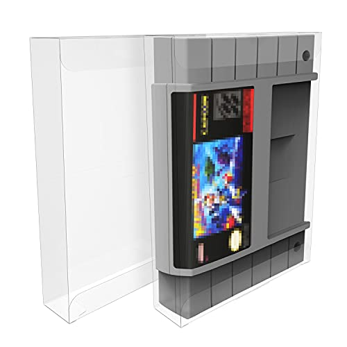 HIGOPLAY Clear Box Protectors Case for Nintendo SNES Cartridge, Just for USA & PAL Games, Premium Quality Clear Plastic Case Scratch Resistant Plastic Case Clear Case Anti- Dust/Scratch (10 Pcs)