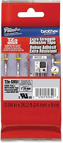 """Brother Genuine P-touch TZE-S951 Tape, 1"""" (0.94"""") Wide Extra-Strength Adhesive Laminated Tape,Black on Matte Silver,Laminated for Indoor or Outdoor,Water-Resistant, 0.94"""" x 26.2' (24mm x 8M), TZES951"""