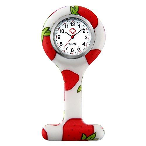 Lancardo Orologio da Tasca Infermiere Medico Donna con Cinturino in Silicone Impermeabile Risvolto Tasca Fibbia dell'orologio, Rosso