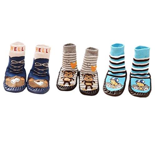 AMDUDU 3 Pares de Calcetines de Algodón Calcetines para Bebé Niños Niñas,Zapatillas...