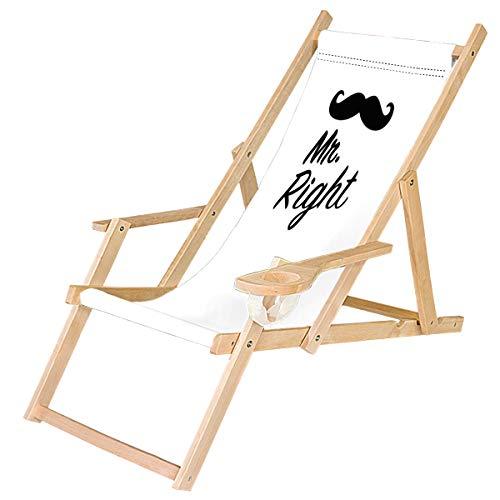 Ferocity Tumbona Plegable de Madera con Reposabrazos y Soporte para Bebidas Silla de Playa Diseño B