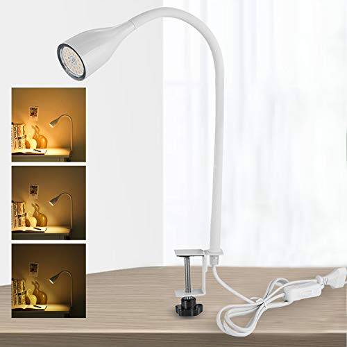 Bojim dimmbare Klemmleuchte LED, inkl 1x GU10 Warmweiß 2800K 6W 600lm Leuchtmittel, Leselampe buch klemme mit 3 Helligkeitstufen, 360° Flexibel Schwanenhals, Metall Silikon, AC 220V-240V