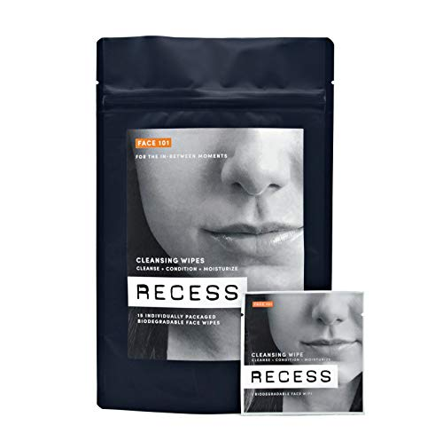 RECESS, FACE 101 | Alcohol Free Cleansing Wipes For Sensitive Skin | with Hyaluronic Acid | Lightly Scented With Citrus (15 Pack)
