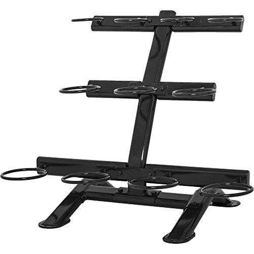GORILLA SPORTS® Kettelbell-Ablage - aus 3 Ebenen mit 11 Ablageringen fur Kugelhantel, bis 200 kg belastbar, Schwarz - Kettlebell Ablageständer
