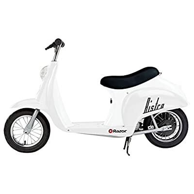 Razor Pocket Mod Miniature Euro 24V Electric Kids Ride On Retro Scooter, Speeds up to 15 MPH with 10 Mile Range, White