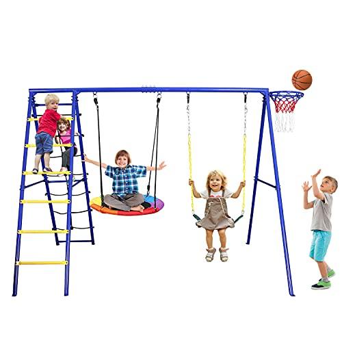 Hapfan 440lbs Swing Set with Heavy Duty Metal Swing Stand, Saucer Tree Swing,Belt Swing,Climbing Rope,Climbing Ladder,Basketball Hoop for Outdoor Backyard