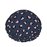 Trendy Panther Print Animales Piel Mezcla de colores crudos Invierno Azul marino Rosa Gorro de ducha de doble capa Gorro de baño elásti