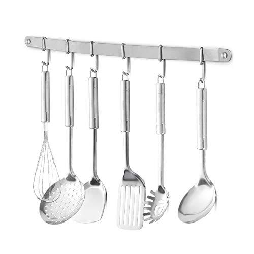 "eForwish Stainless Steel Kitchen Utensil Racks Holder Hanging Rail Organize Pots Pans Kitchen Knife Gadgets On Wall Mounted Hanger Bar Rail Under Cabinet Shelf (6 Hook,17"")"