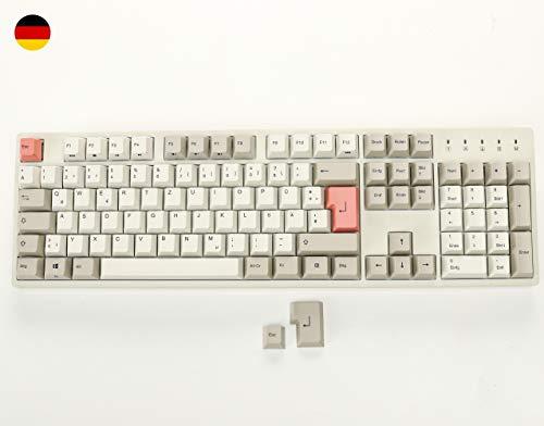 Durgod Taurus K310 Mechanische Spieletastatur in Voller Größe - 105 Tasten - Farbstoffsublimation PBT - USB Typ C - Deutsches Layout (Cherry Blue, Weiß)