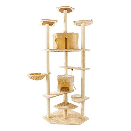 Cat Trees Condos, Activity Trees with Sisal Scratching Posts Perches Houses 80 inches Pet Tower Furniture Play Stable Cat Condo Pet Play House